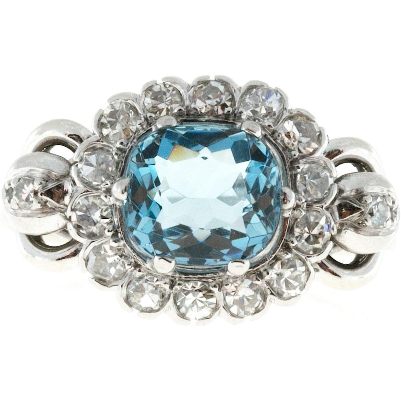Art Deco Blue Zircon Diamond 14 Karat White Gold Cocktail Ring
