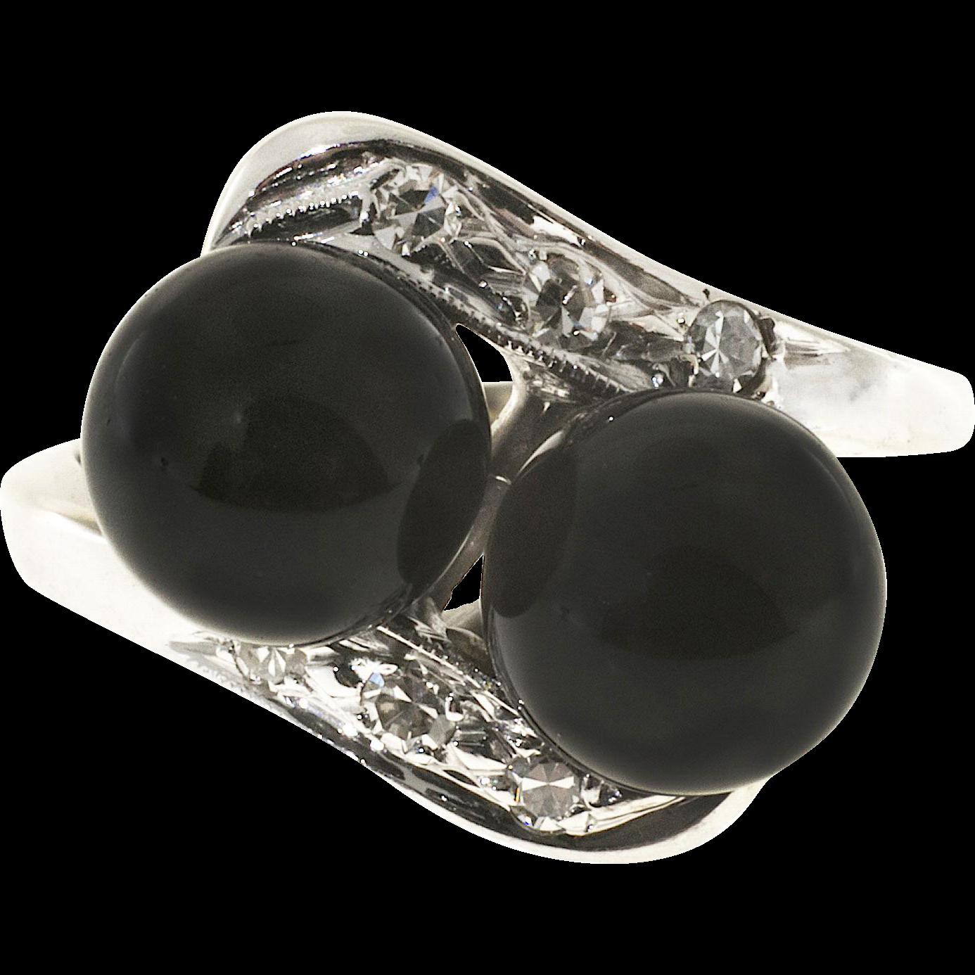 Black Onyx Beads Diamond 14 Karat Yellow Gold Swirl Cocktail Ring