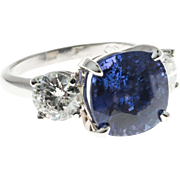 Vintage Natural Blue Sapphire Diamond Platinum Ring