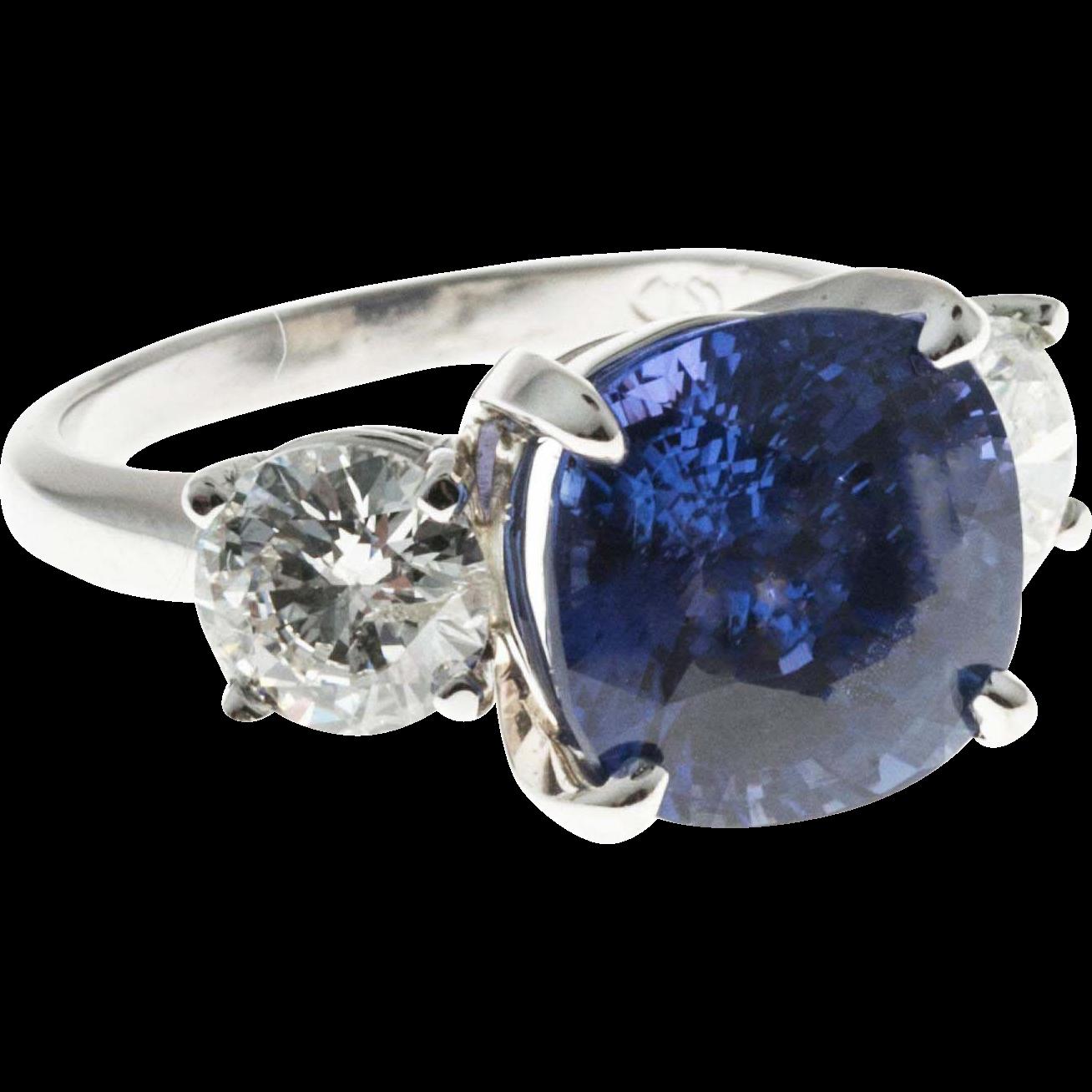 Vintage Natural Blue Sapphire Diamond Platinum Ring