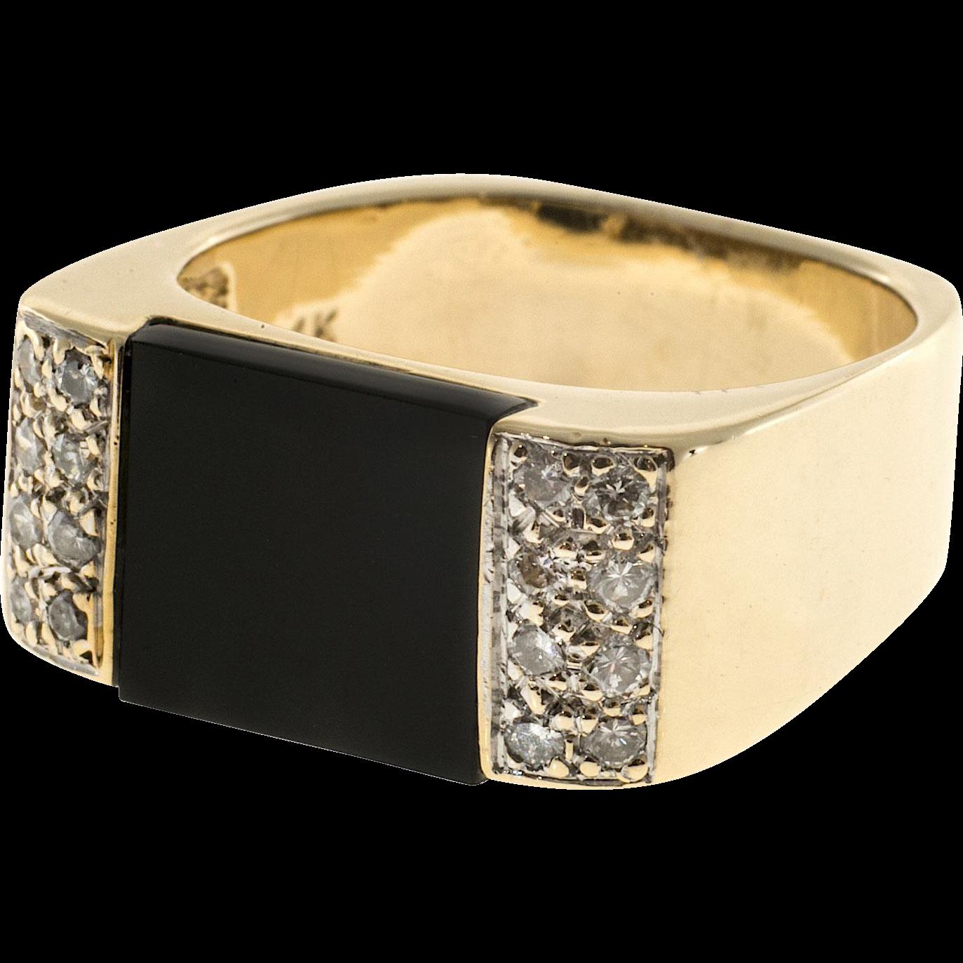 Square Black Onyx Diamond 14 Karat Yellow Gold Ring