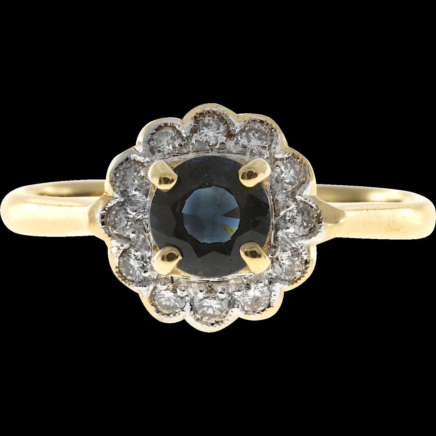 Cornflower Blue Sapphire Diamond Halo 18 Karat Yellow Gold Engagement Ring