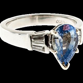 Light Blue Pear Sapphire Baguette Diamond Platinum Engagement Ring