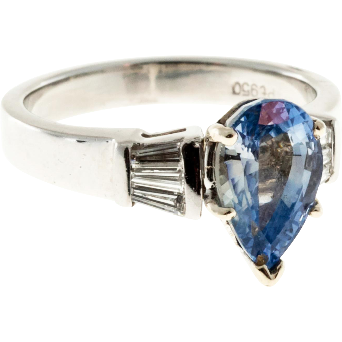 Light Blue Pear Sapphire Baguette Diamond Platinum Engagement Ring