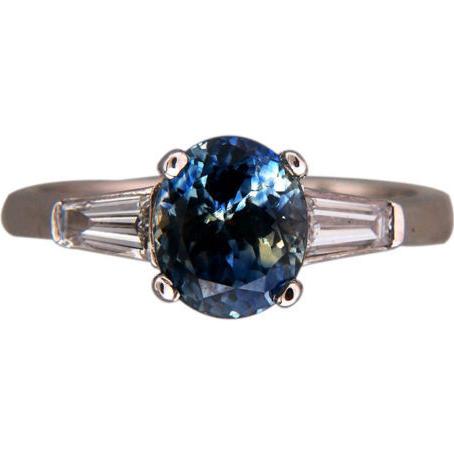 Vintage 2.41ct Rare Green Blue Oval Blue Sapphire Platinum .44ct Baguette Ring
