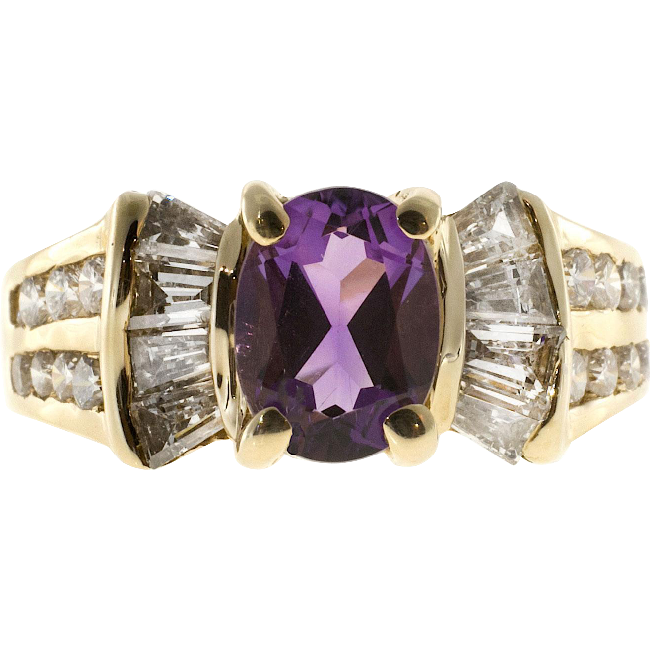 Oval Amethyst Diamond Baguette 14 Karat Gold Ring