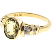 Green Yellow Sapphire Baguette Diamond 18 Karat Ring