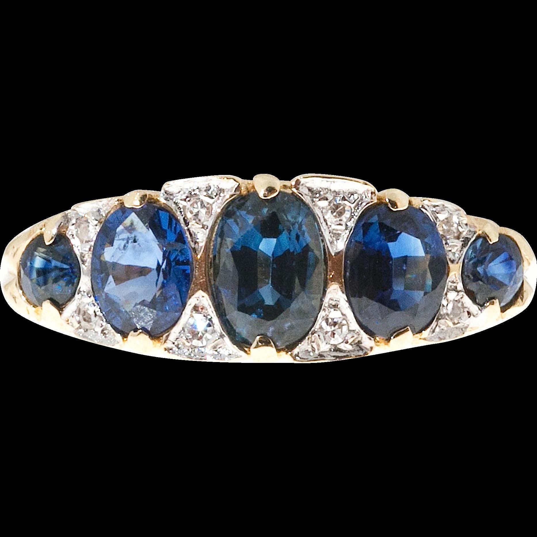 Sapphire Diamond 14 Karat Gold Filigree Ring