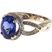 Oval Purple Blue Tanzanite Diamond 14 Karat Gold Ring