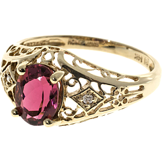 Pink Tourmaline Diamond Filigree 14 Karat Yellow Gold Ring