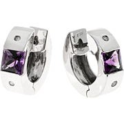 Amethyst Diamond Huggie 18karat White Gold Hoop Earrings