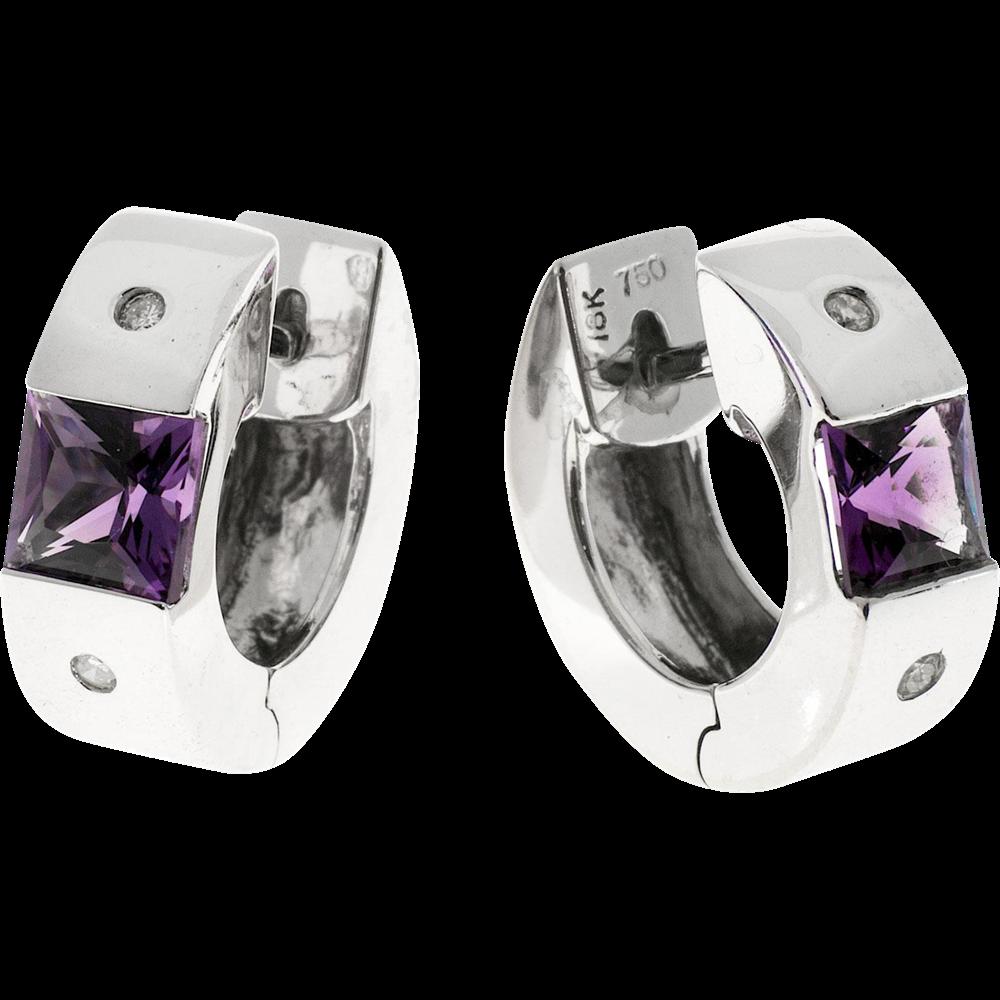 Amethyst Diamond Huggie 18karat White Gold Hoop Earrings