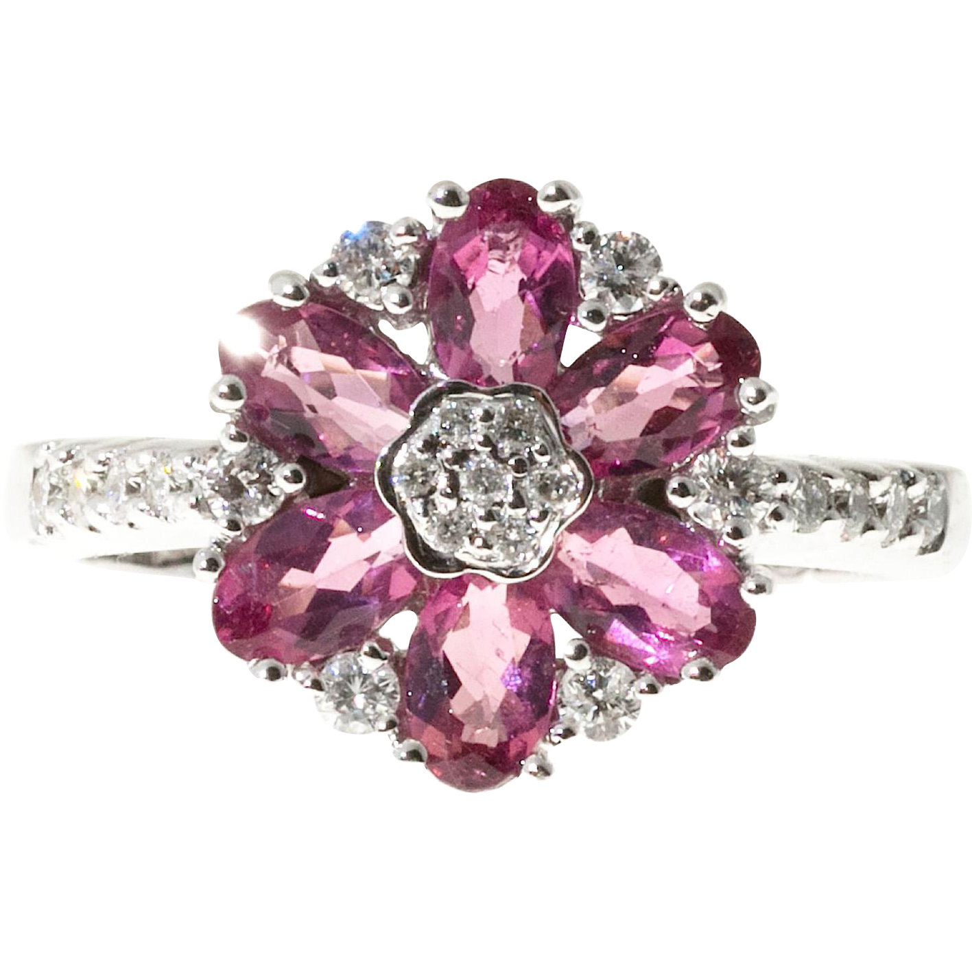 Pink Tourmaline Diamond 18 Karat White Gold Flower Cocktail Ring