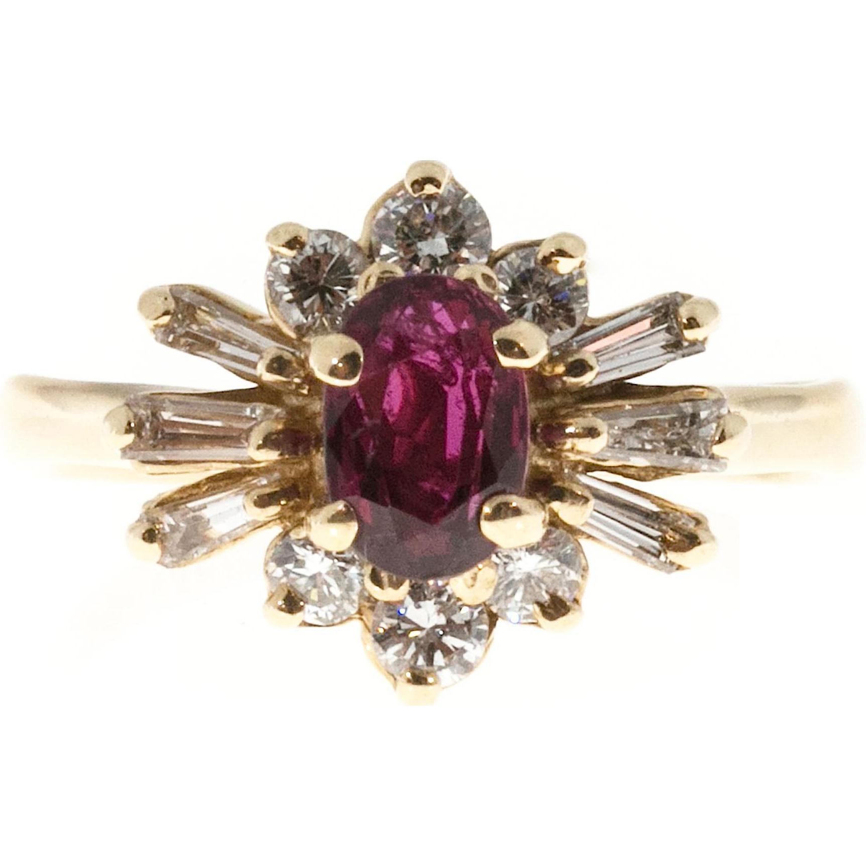 Ruby Diamond Princess Style 14 Karat Yellow Gold Cocktail Ring