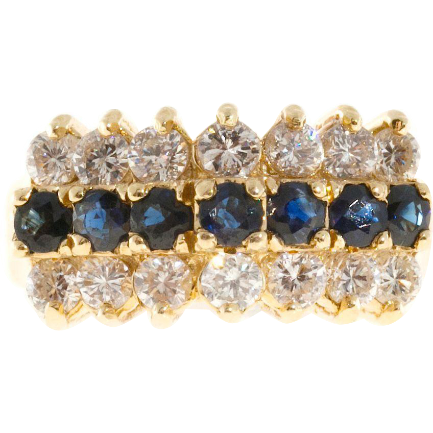 Sapphire Diamond 14 Karat Yellow Gold Raised Wire Dome Ring
