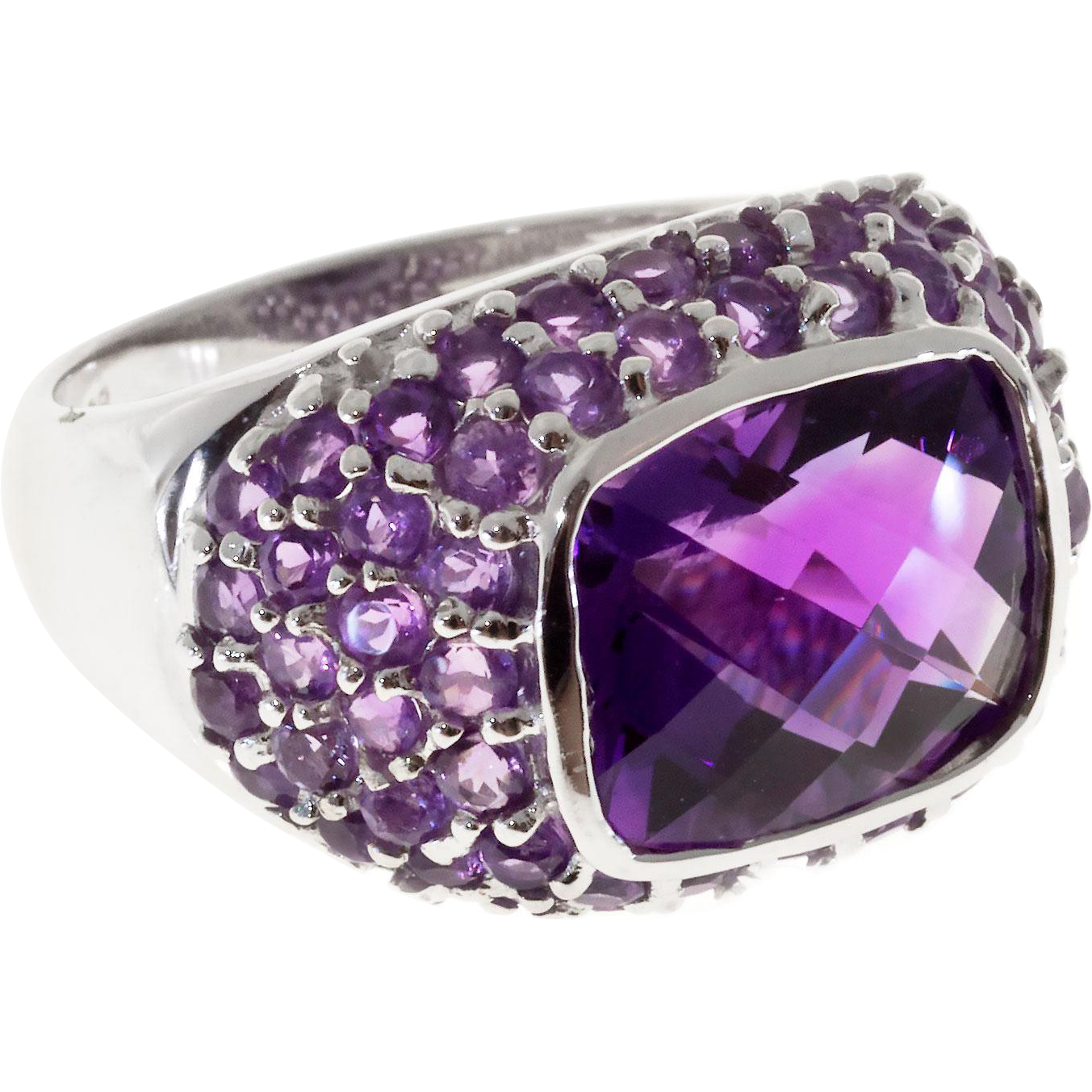 Bezel Set Amethyst 14 Karat White Gold Dome Cocktail Ring