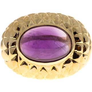 Cabochon Amethyst 14 Karat Yellow Gold Dome Cocktail Ring