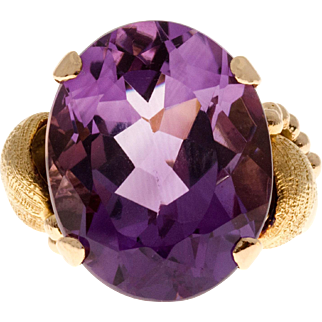 Oval Purple Amethyst 14 Karat Rose Gold Cocktail Ring