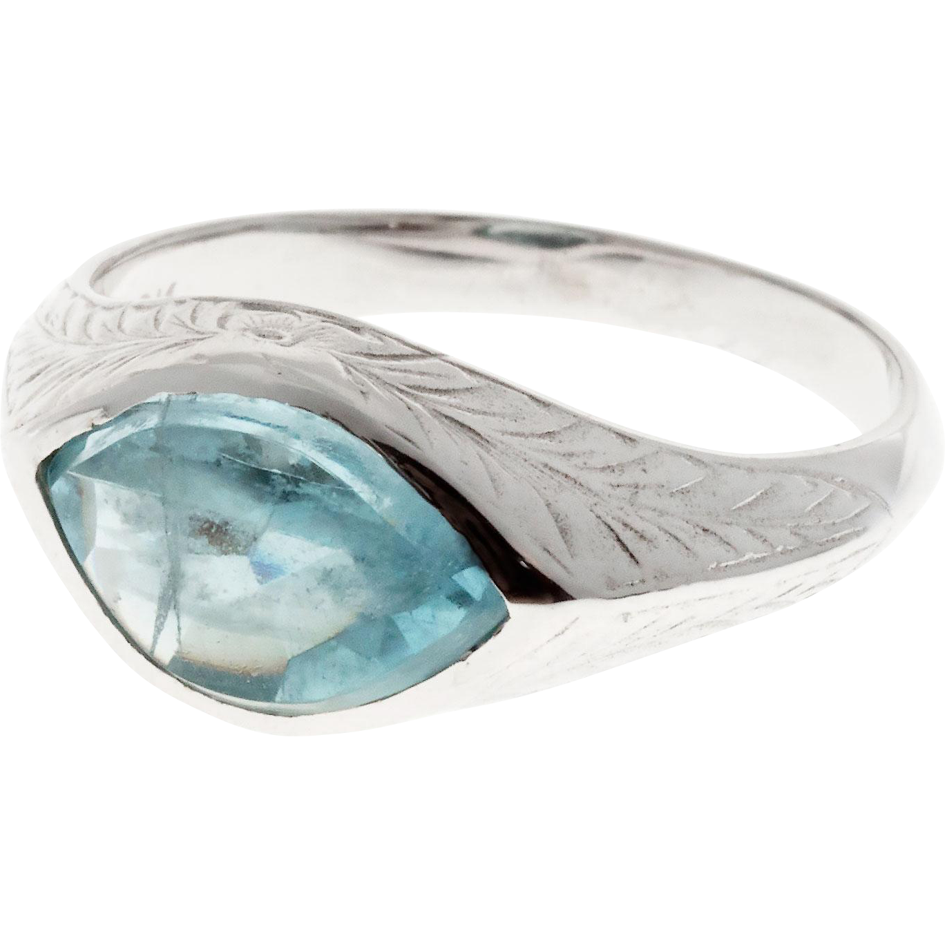 Natural Aqua 10 Karat White Gold Men's or Ladies Ring