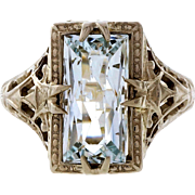 Art Deco 1.75ct Aqua Filigree 14k White Gold Ring