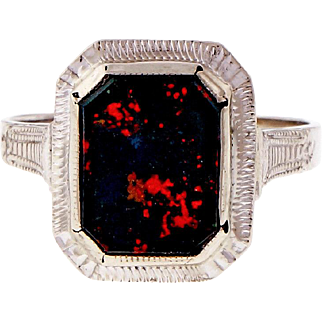 1940s Octagonal Bloodstone 14k White Gold Ring