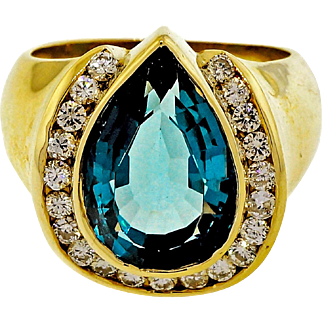 London Blue Topaz Pear Shaped Diamond 14k Yellow Gold Cocktail Ring