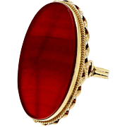 Art Deco Carnelian 14k Rose Gold Cocktail Ring