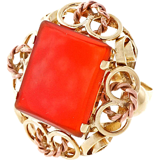 Carnelian 14k Rose Yellow Gold Cocktail Ring