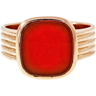 Men's  Carnelian 14k Rose Gold Ring