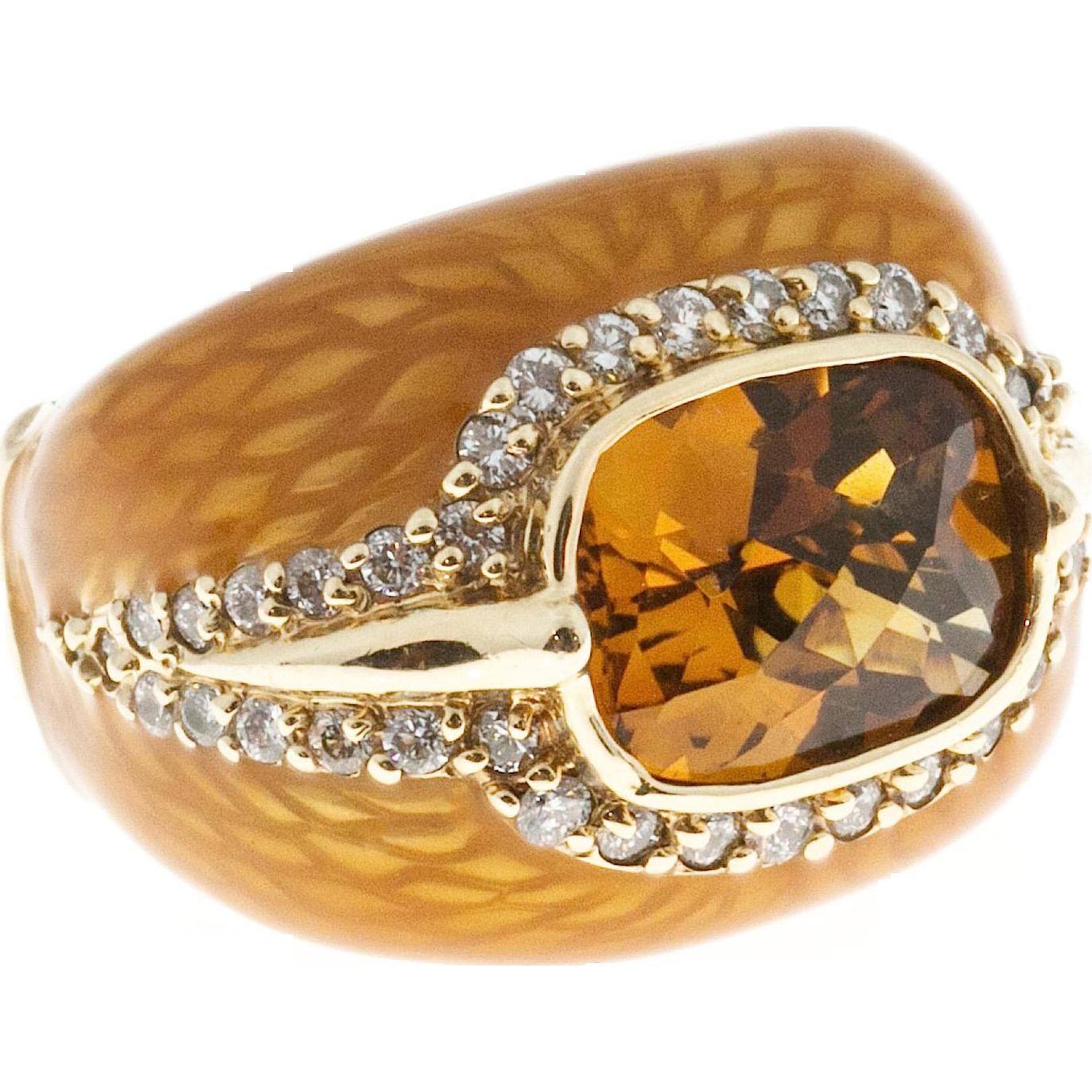 Haggai Citrine Diamond 14 karat Yellow Gold Enamel Cocktail Ring