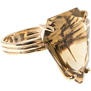 Citrine Topaz 14 Karat Yellow Gold 1950s Shield Shape Cocktail Ring