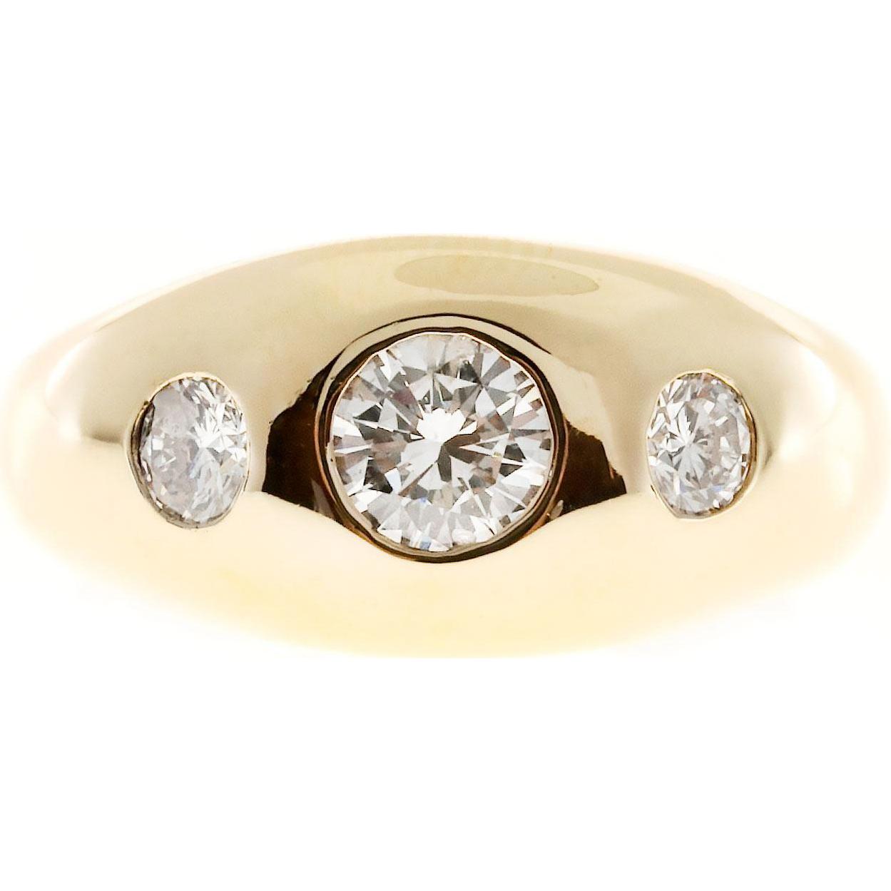 Three-Stone Diamond 14 Karat Yellow Gold Gypsy Style Ring
