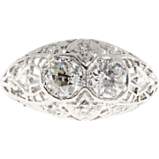 .50ct Diamond Art Deco Platinum Hand Pierced Filigree Dome Engagement Ring