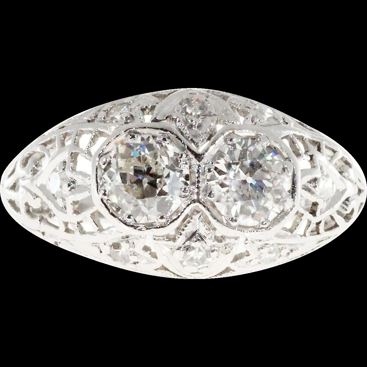 .50ct Diamond Art Deco Platinum Hand Pierced Filigree Dome Engagement Ring