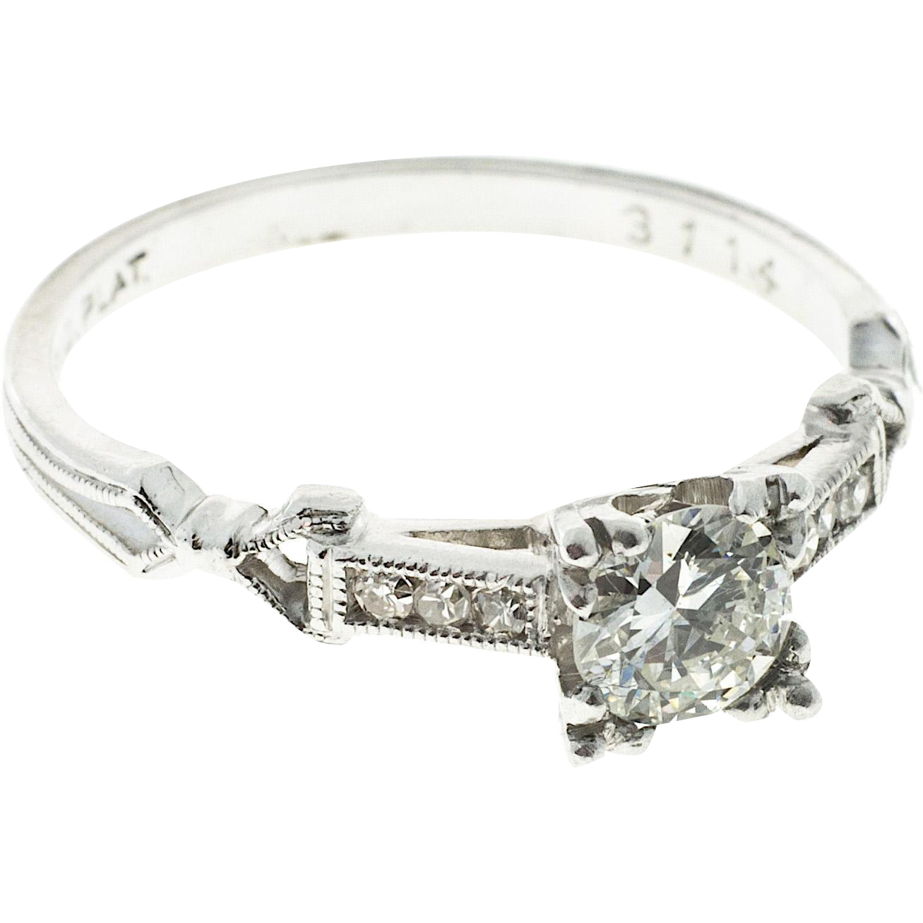 .40ct Diamond Transitional Cut Platinum Art Deco Engagement Ring
