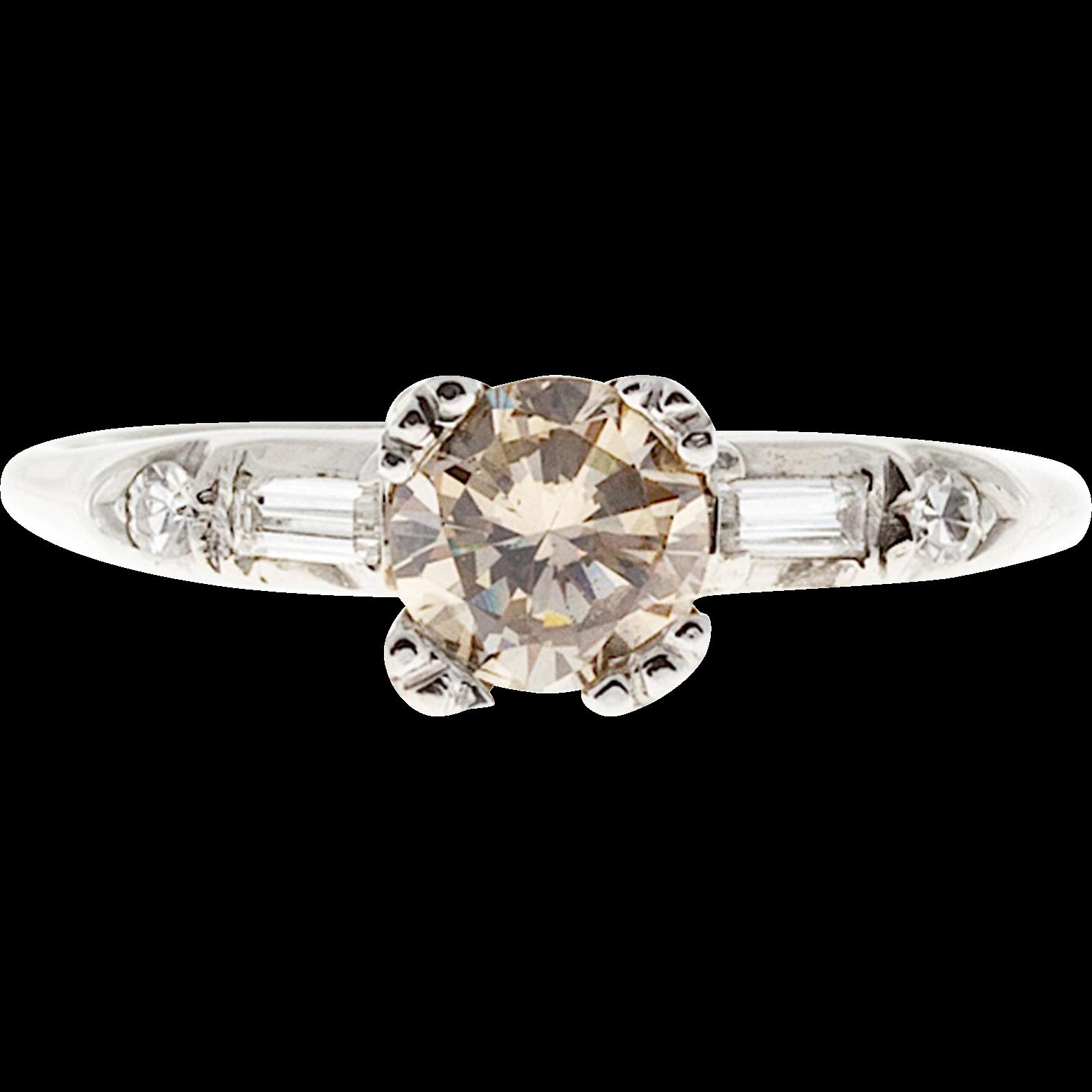 GIA Certified Light Brown .60 Carat Diamond 18 Karat White Gold Engagement Ring
