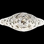 .50ct Diamond 18 Karat White Gold Art Deco Engagement Ring