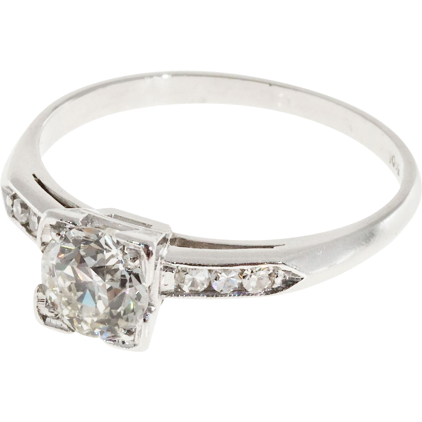 Art Deco .57 Carat Diamond Platinum Engagement Ring