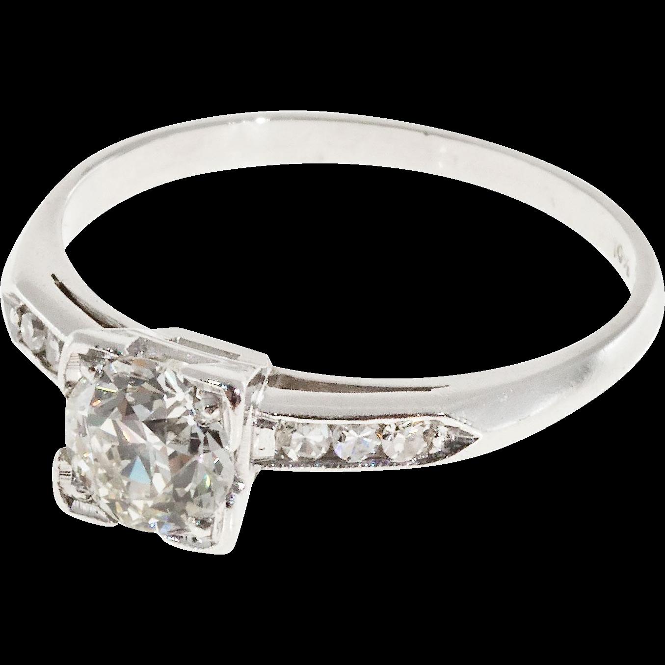 Art Deco .57 Carat Diamond Platinum Engagement Ring