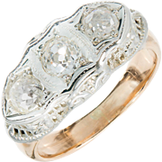 Diamond Three Stone Filigree Deco 14 Karat Rose White Gold Ring