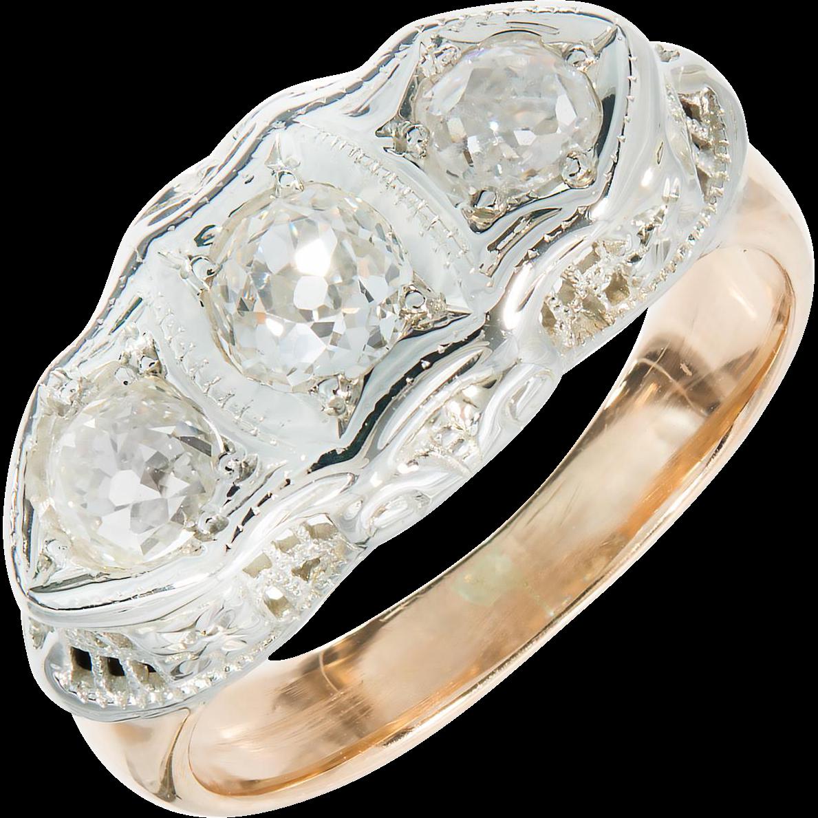 Diamond Three Stone Filigree Deco 14 Karat Rose White Gold Ring