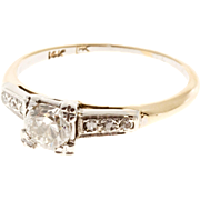 Diamond 14 Karat Yellow White Gold Old European Deco Engagement Ring