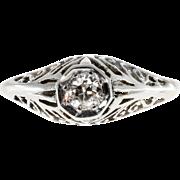 Art Deco Diamond Filigree 14 Karat White Gold Engagement Ring