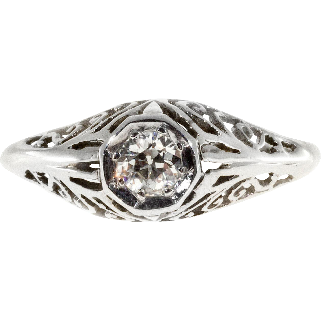 Art Deco .25ct Diamond Filigree 14 Karat White Gold Engagement Ring