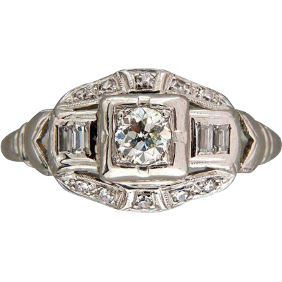 Art Deco Baguette European Single Cut Diamond Platinum Engagement Ring