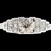 .65ct Diamond 18 Karat White Gold Art Deco Engagement Ring