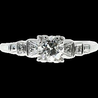 Art Deco Diamond European Cut 14 Karat White Gold Engagement Ring