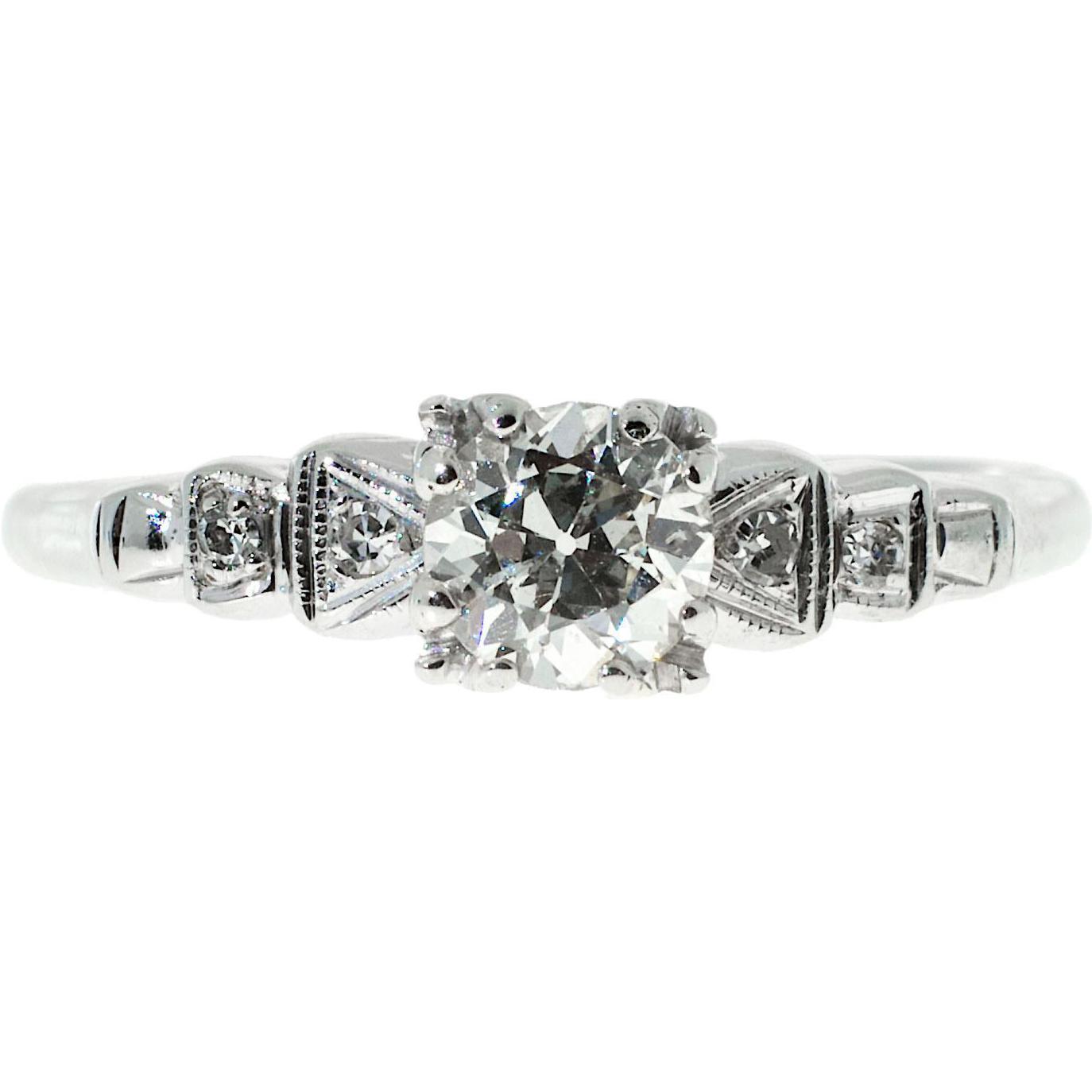 Art Deco .50 Diamond European Cut 14 Karat White Gold Engagement Ring