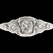 Art Deco .34ct Diamond 18 Karat White Gold Three-Stone Engagement Ring
