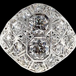 Art Deco Diamond Dome Platinum Engagement Ring